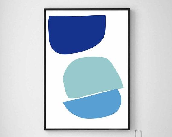 Printable Abstract Art, Mid Century Modern Wall Art, Blue Large Art, Instant Download, Modern Print, Wall Art, Minimalist, RegiaArt