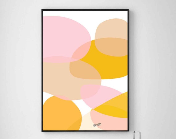 Printable Art, Mid Century Modern Wall Art, Orange Pink Abstract Art, Abstract Art, Large Art Prints, 24x36, Abstract Painting, RegiaArt