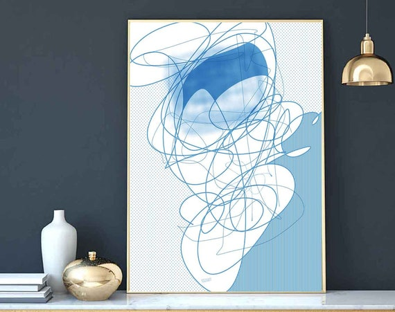 Printable Art, Instant Download, Sky Blue Abstract Wall Art, Line Art, Delicate Drawing Print, Home Decor, RegiaArt