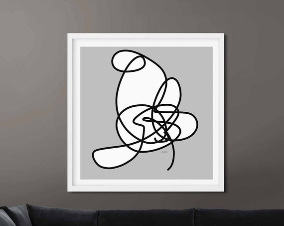 Printable Art, Large Abstract, Minimalistic Art, One Line Drawing, Black White Wall Art, Instant Download, Modern Print, RegiaArt