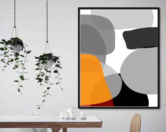 Orange Black Printable Art, Abstract Large Art, Instant Download, Modern Print, Digital Painting, Wall Art Print Abstract, Oversize RegiaArt