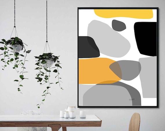 Black Orange Printable Art, Abstract Large Art, Instant Download, Modern Print, Digital Painting, Wall Art, Home Decor, RegiaArt