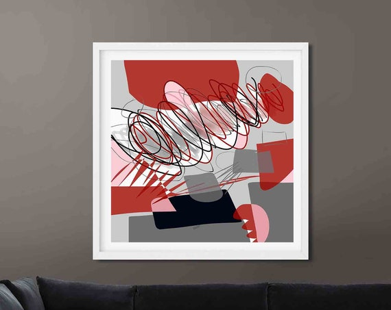 Red Black Printable Art, Abstract Large Art, Instant Download, Modern Print, Digital Painting, 30x30, Abstraction, Wall Art, Decor, RegiaArt