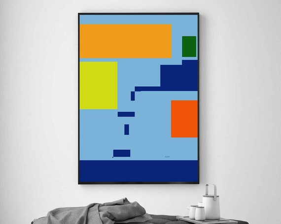 Printable Art, Colors Geometric, Abstract Art, Instant Download, Modern Print, Digital Painting, Blue Abstract, RegiaArt
