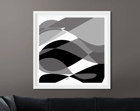 Printable Black White Wall Art, For the Entrance Hall, Instant Download, Modern Print, Digital Painting, Wall Art Print Abstract RegiaArt