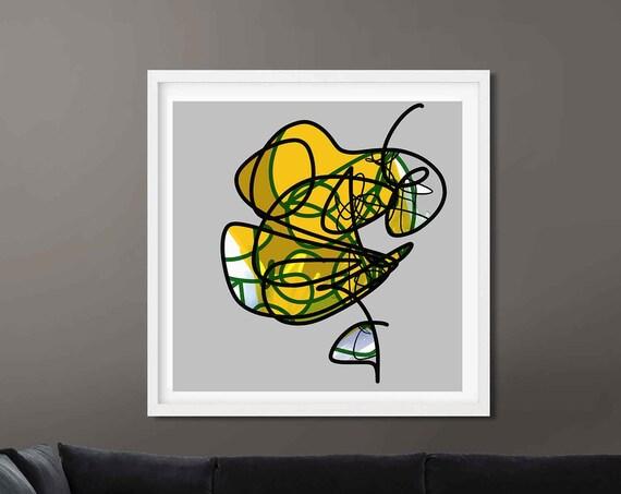 Printable Art, Line Drawing Abstract Flower Art, Instant Download, Modern Print, Digital Painting, Art Print Abstract Art, RegiaArt