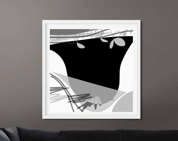 Printable Art, Black White Abstract Large Art, Instant Download, Modern Print, Digital Painting, 30x30 Wall Art Print Abstract RegiaArt