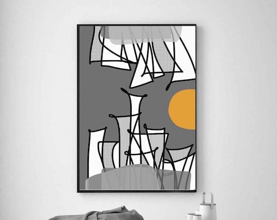Printable Art Abstract, City Painting, Modern Decor, Modern Minimalist, Digital Art, Printable Digital Download, Large Poster, Gray Art