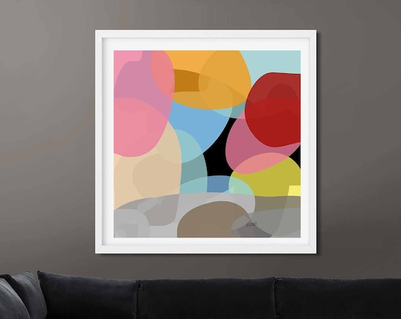 Colorful Printable Art, Abstract Large Art, Instant Download, Modern Print, Digital Painting, Wall Art, 30x30, Home Decor RegiaArt