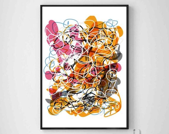 Colorful Printable Art, Contemporary Lines Painting, Instant Download, Digital Art, Wall Art, Interior Design, Home Decor Art, RegiaArt