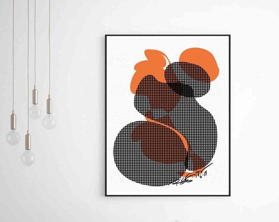 Digital Art Download, Black Orange Abstract Poster, Modern Art Print, Mid Century Art, Modern Downloadable Art, Home Decor, RegiaArt