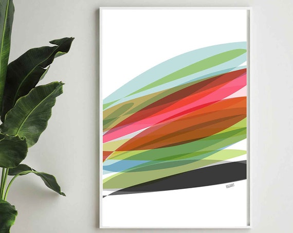 Printable Tropical Wall Art, Colorful Abstract Art, Modern Art Print, Colors Palm Art, Downloadable Art, Home Decor, Tropical Art, RegiaArt