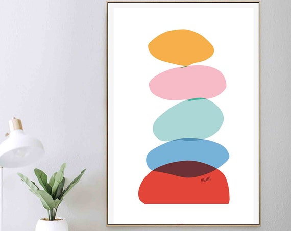 Printable Abstract Wall Art, Colorful Art, Mid Century Modern, Downloadable Art, Minimalist Abstract Art, Home Decor, Contemporary RegiaArt