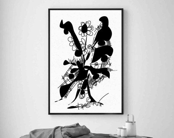 Printable Abstract Art, Instant Download, Black WallArt, Plant Art Print, Digital Drawing, Black White Drawing Art, Home Decoration RegiaArt