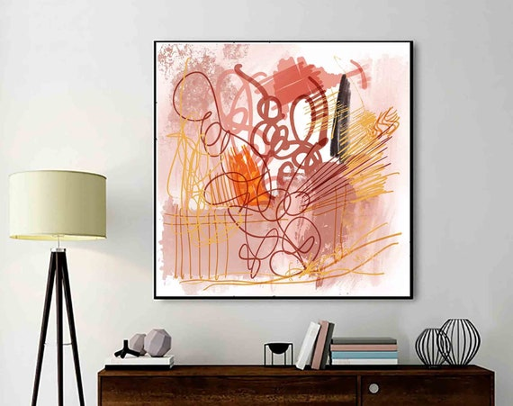"""Printable Art, Earth Colors Decoration, Abstract Art, Instant Download, Modern Print, Digital Painting, 24x24"""" Art, Home Decor, RegiaArt"""
