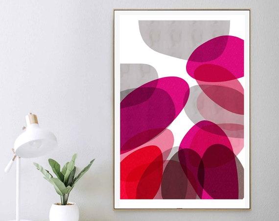 Abstract Art Print, Red Poster, Modern Art Print, Mid Century Art, Rouge Pink Print, Modern Abstract Art, Contemporary Art, 24x36 RegiaArt