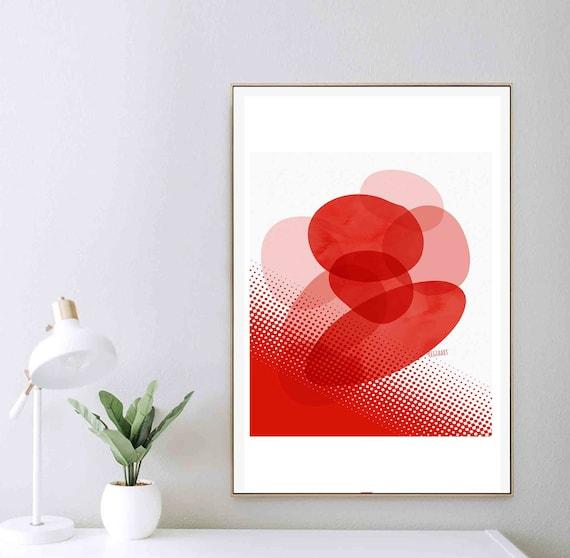 Printable Geometric Wall Art, Red Minimal Abstract Art, Modern Art Print, Art, Downloadable Art, Home Decor, Red Texture Art, RegiaArt