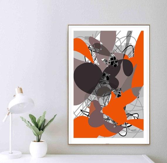 Printable Abstract Wall Art, Orange Black Print, Modern Art Print, Mid Century Art, Modern Abstract Art, Contemporary, Colorful Art Poster