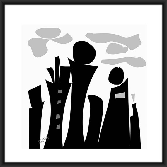 Printable Art, Black City II, Art For Large Walls, Instant Download, Modern Print, Digital Painting, 40x40 Art Print Abstract RegiaArt