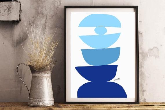 Blues Printable Abstract, Scandinavian Modern, Geometric Abstract Wall Art Print, Modern Decor, Modern Wall Art, Digital Download