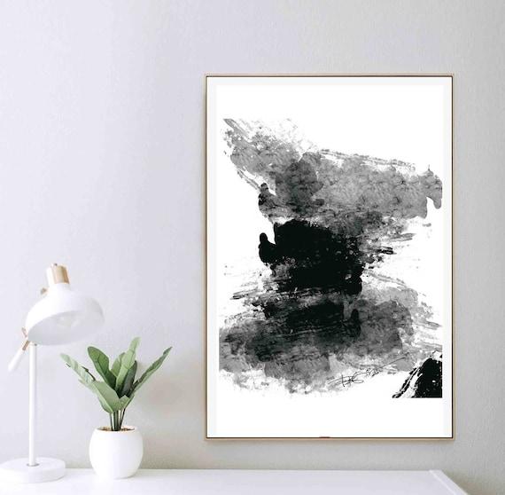 Printable Abstract Wall Art, Black White Large Art, Instant Download, Modern Wall Art, Digital Painting, 24x30 Print DIY Art, Decor RegiaArt