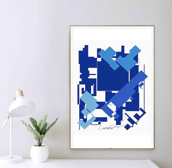 Printable Abstract Art, White Blue Art, Geometric Modern, Monochrome Art, Minimalist Print, Wall Art to Download, Home Decoration, RegiaArt