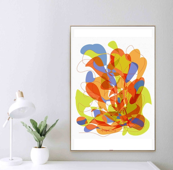 Printable Abstract Wall Art,  Colorful Art, Organic Painting, Elegant Yellow Art, Minimal Print, Art Download, Home Interior Decor, RegiaArt