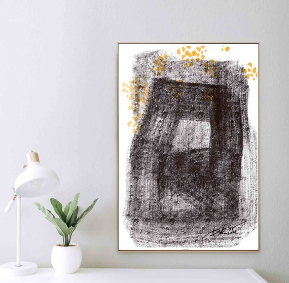 Printable Textured Art, Black White Lines Shapes Art, Abstract Drawing, Instant Download, Large Art Print, Home Decor, Contemporary RegiaArt