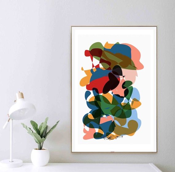 Printable Wall Art, Colorful Art, Abstract Art, Instant Download, Modernist Art Print, 24x36 Contemporary Wall Art, Eclectic Decor RegiaArt