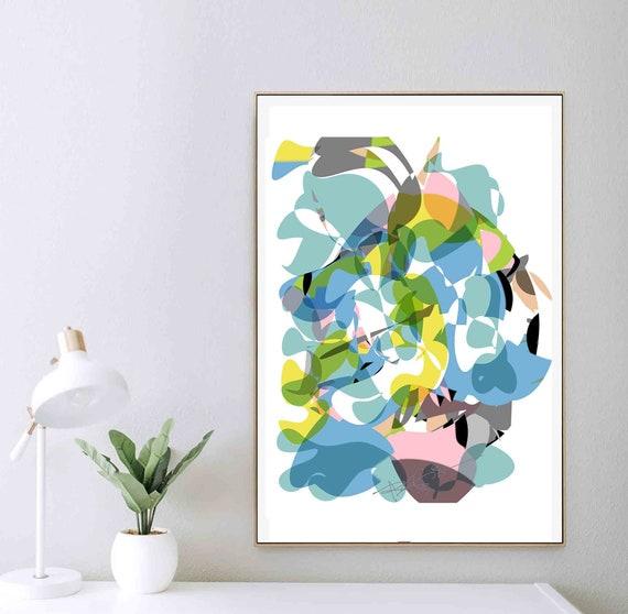 Printable Abstract Art, Modern Abstract Painting, Home Wall Art Mid Century, Scandinavian Art, Modern Print, Instant Download, Oversize Blue