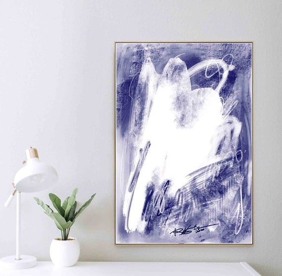 Printable Art, Digital Art Print, Blue White Abstract Painting, Housewarming Gift, Instant Download, Modern Home Wall Decoration, RegiaArt