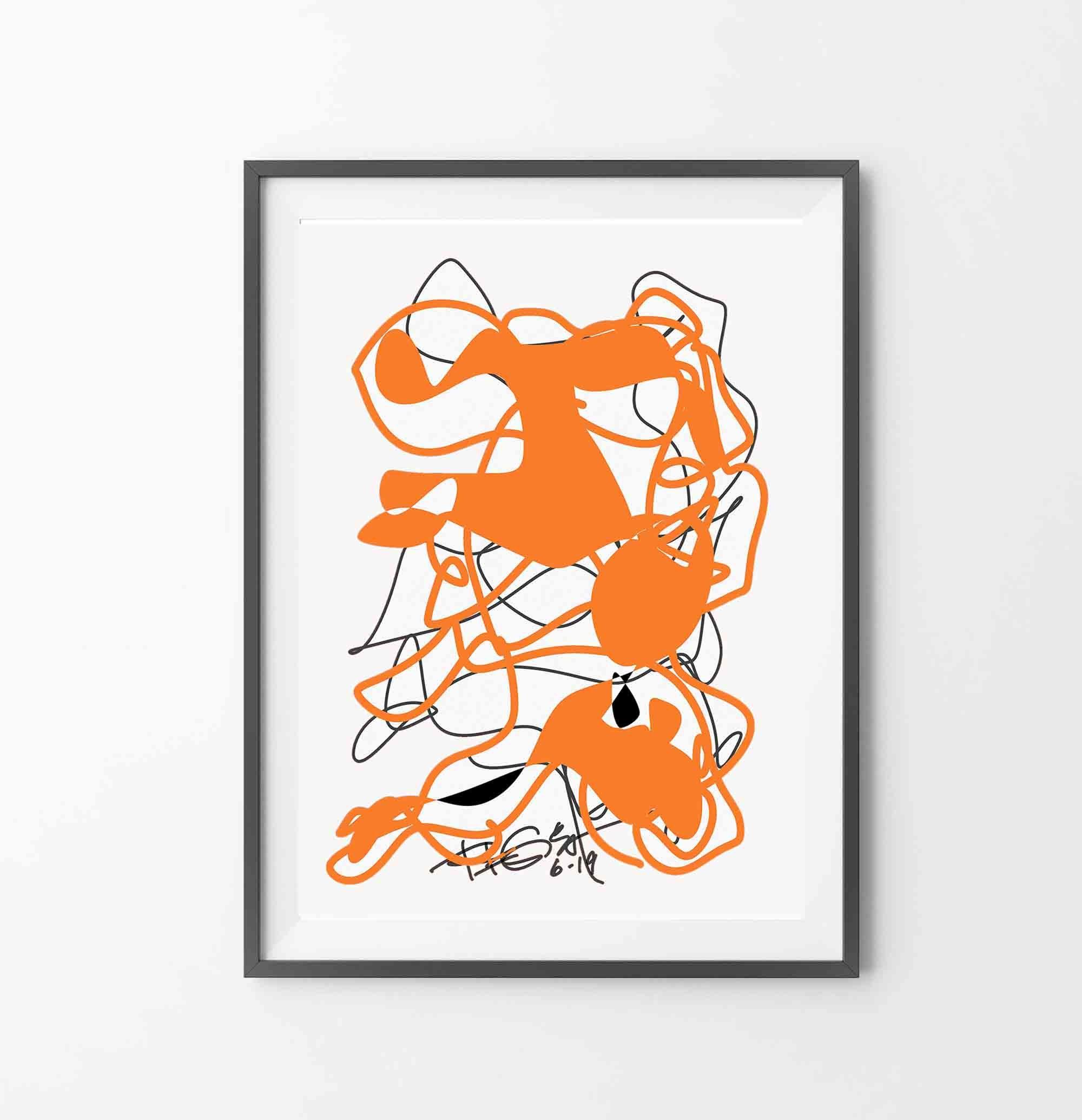 Printable Abstract Wall Art Orange Art Lines Mid Century