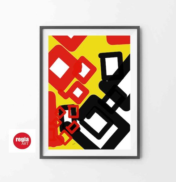 "Printable Abstract Art, Geometric Art, Instant Download, Modernist Art, Digital Modern, Yellow Red Black 24x36"" Art, Home Decor RegiaArt"