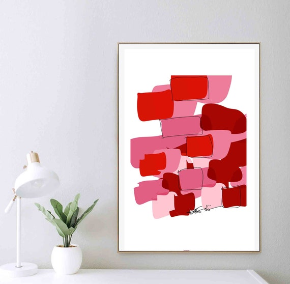 Printable Abstract Art, Minimal Red Pink Art, Minimal Modern Abstract Painting, Scandinavian Art, Modern Print, Instant Download, Home Decor