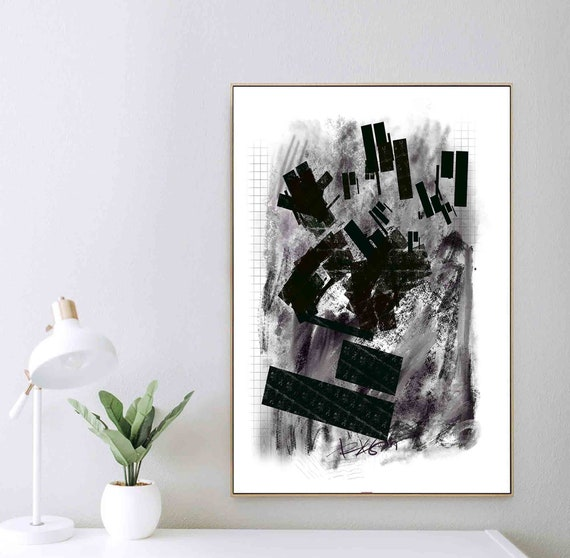 Black White Abstract Art, Grunge Large Art, Minimal Painting, Monochromatic Strong Art Print, Wall Art to Download, Home Decor RegiaArt