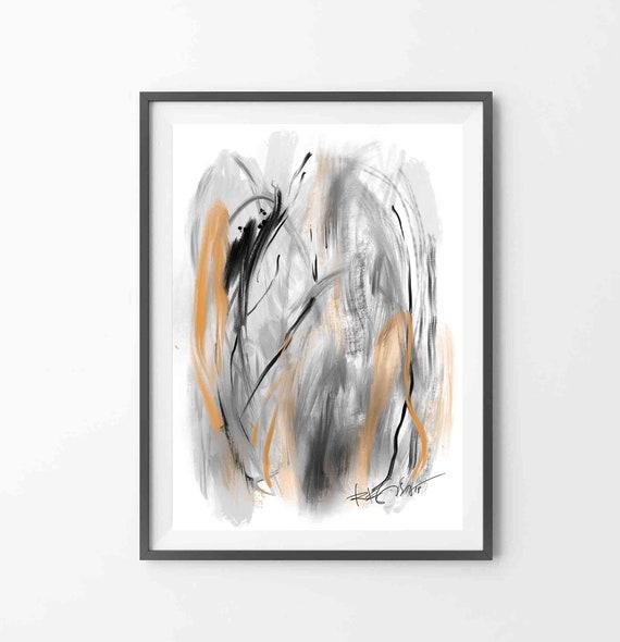 "Printable Abstract Art, Black Gray Ochre Art, Large Wall Art, Instant Download Art, 24""x36"" Print, Minimal Wall Art, RegiaArt"