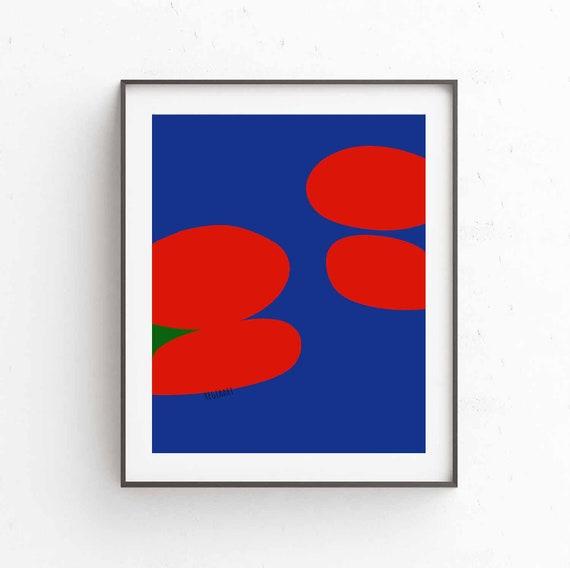 Printable Art, Digital Download, Red Blue Print For Living Room, Vibrant Bold Modern, Abstract Art Print, Modern Decor, Wall Art, Marinho