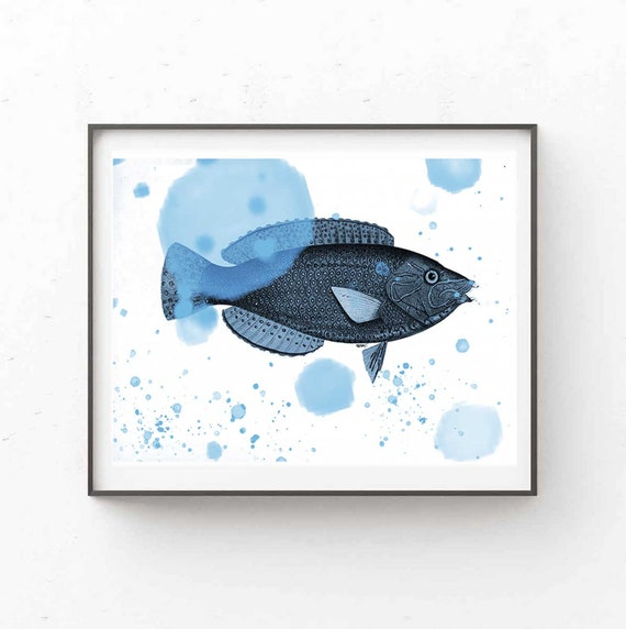 Printable Art, One Blue Fish Animal, Abstract Large Art, Instant Download Modern Print Digital Painting Wall Art Print Abstract, RegiaArt