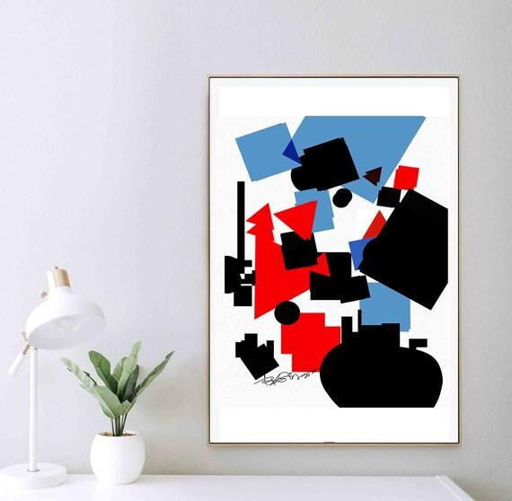 Geometric Bold Art, Printable Abstract Wall Art Decor, Bauhaus Art, Red Blue Black Modern Print, Download, Home Decoration, Vibrant RegiaArt