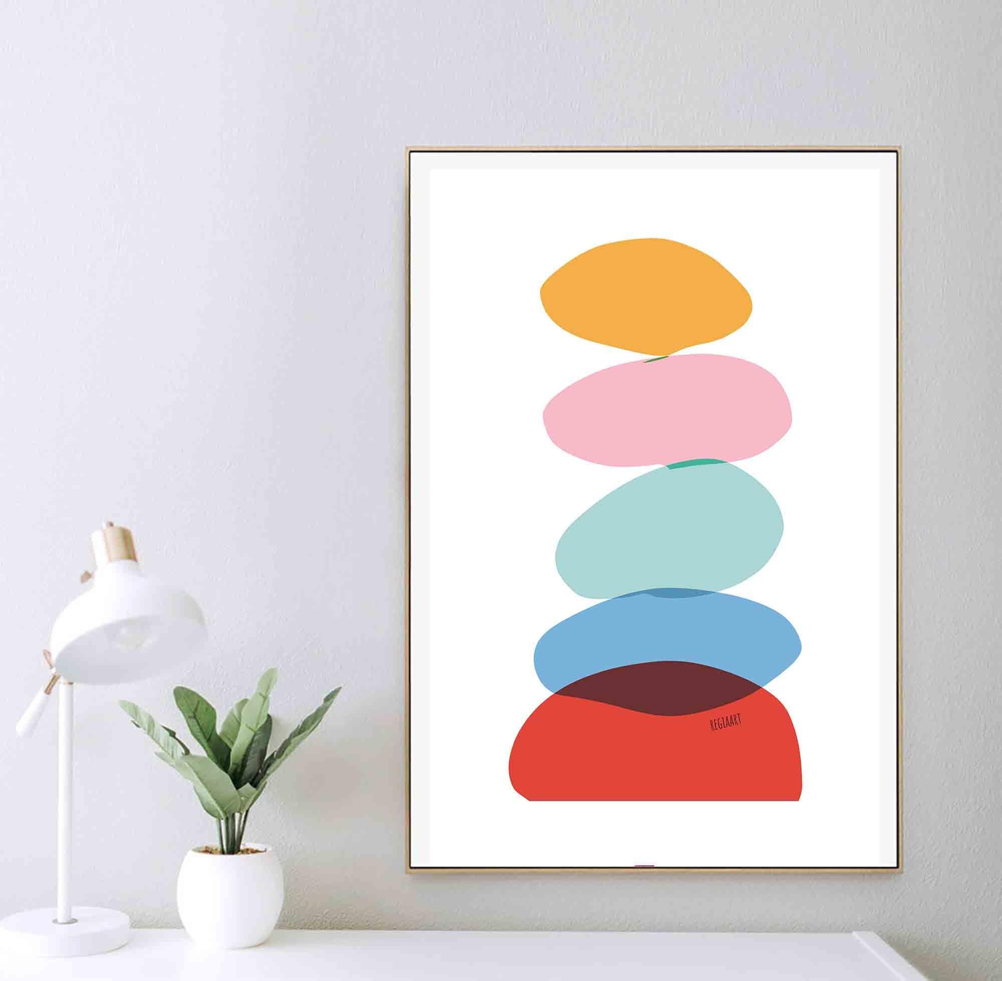 Printable Abstract Wall Art Colorful Art Mid Century