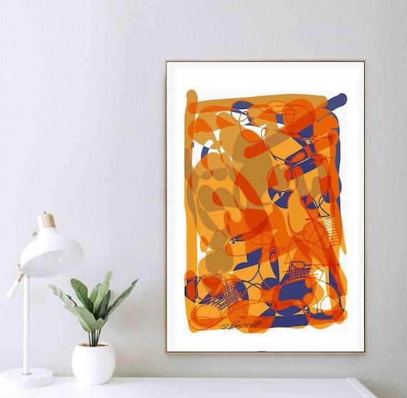 Printable Abstract Wall Art, Orange Yellow Blue Art, Organic Painting, Scandinavian Art, Minimal Print, Art Download, Home Decor, RegiaArt