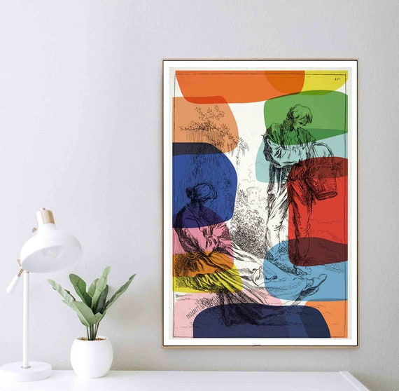 Printable Art, Ancient Pop of Colors Print, Instant Download, Antique Steches Drawing, Wall Art, Interior Design,  Home Decoration, RegiaArt