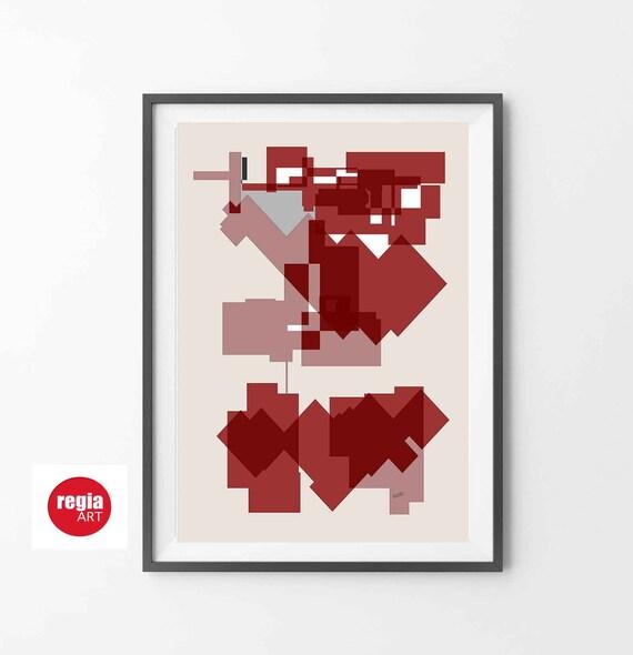Printable Abstract Wall Art, Modern Burgundy Art, Instant Download, Geometric Art, Bauhaus, Mid Century Minimal Print, Home Decor, RegiaArt