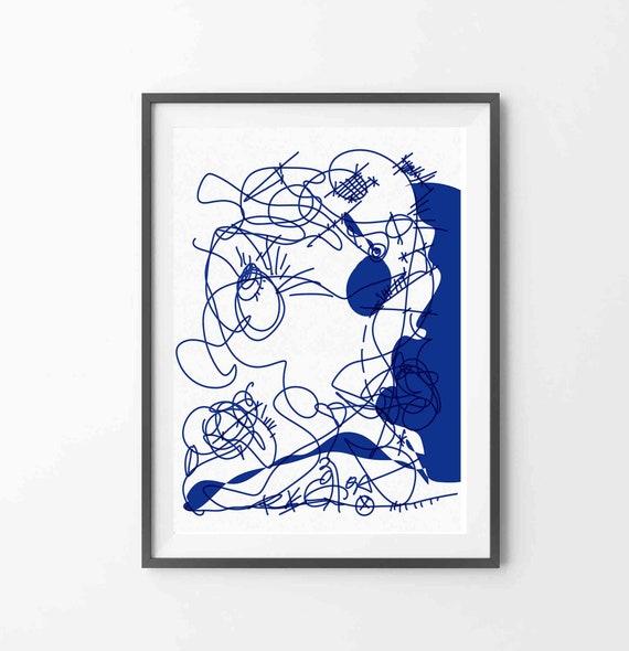 Printable Art, Instant Download, Blue Wall Art, Large Modern Print, Abstract Digital Drawing, Blue Drawing Art Print, Home Decor, RegiaArt