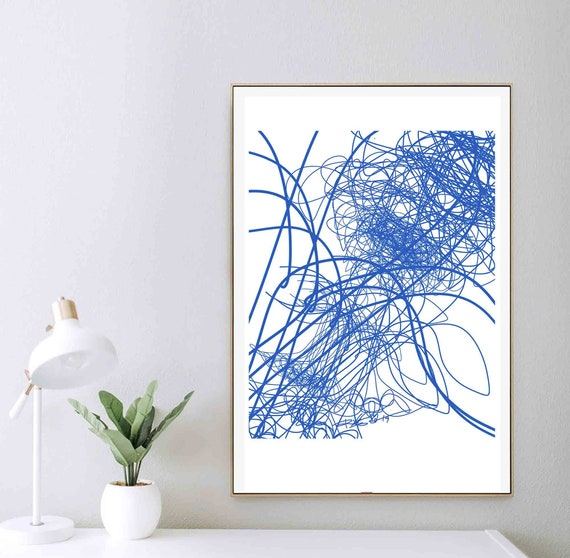 Art Printable Abstract, Modern Abstract Painting, Blue Lines, Home Wall Art Mid Century, Scandinavian Art, Modern Print, Instant Download