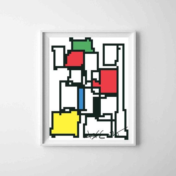 "Printable Abstract Art, Colorful Pixel Art Print, Wall Art, Instant Download, Geometric Abstract Art, Home Decor, Bauhaus, 16""x20"" RegiaArt"