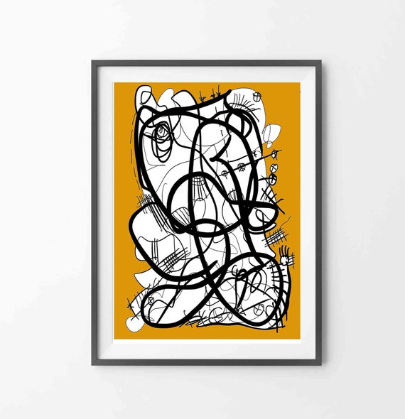 Printable Art, Instant Download, Orange Wall Art, Line Art Print, Abstract Digital Drawing, Orange Black Drawing Art, Home Decor, RegiaArt