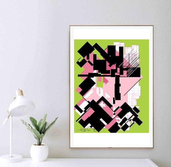 Printable Wall Art, Chautreuse Green Art, Geometric Digital, Contemporary Art, Minimal Print, Wall Art Download, Wall Home Decor RegiaArt
