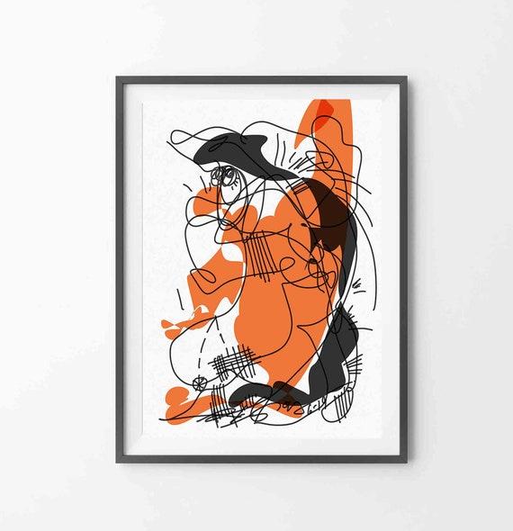 "Printable Art, Instant Download, Black Orange Wall Art, Large Modern Print, Abstract Digital Drawing, 24""x36"" Art Print, Home Decor RegiaArt"