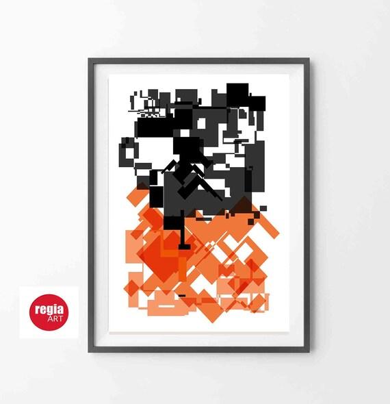 Printable Abstract Wall Art, Modern Orange Black Art, Instant Download, Geometric Art, Bauhaus, Mid Century Print, Home Decor, RegiaArt